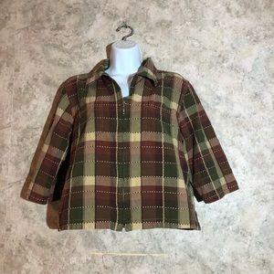 Lemon Grass Plaid Cropped Jacket Top